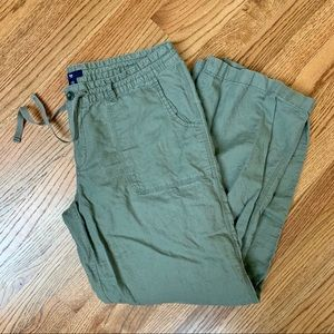 Gap drawstring camo green linen pants